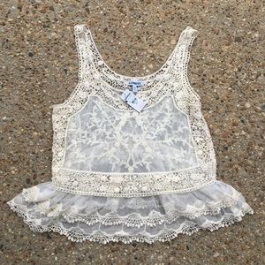 NWT New Express ivory cream lace camisole